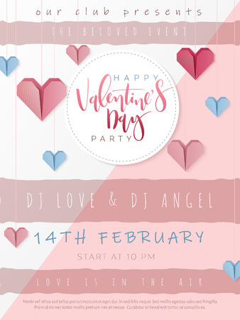 Vector illustration of valentine's day party poster template with hand lettering label - happy valentine's day - with paper origami heart shapes. Illustration