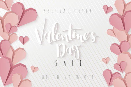 Vector illustration of valentines day greetings card template with hand lettering label - happy valentines day - with a lot of heart shapes.