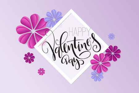 Vector illustration of valentine's day greetings card template with hand lettering label - happy valentine's day - with paper origami flowers. Illustration