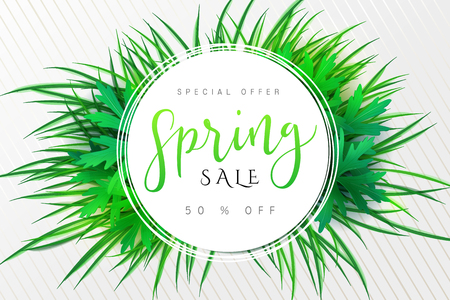 Vector illustration of spring promotion banner template with hand lettering label - spring - with grass and leaves.