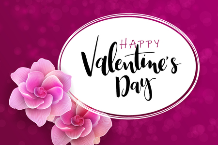 Vector illustration of valentine's day greetings card template with hand lettering label - happy valentine's day - with gardenia flowers. Ilustracja