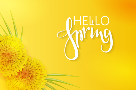 vector illustration of spring banner template with hand lettering phrase - hello spring - with dandelions and grass. Ilustracja