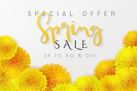 Vector illustration of spring promotion banner template with hand lettering label - spring - with realictic yeallow dandelion flowers. Ilustracja