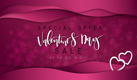 Vector illustration of valentines day promotion banner template with hand lettering label - valentines day - with paper origami heart shapes on waves background.