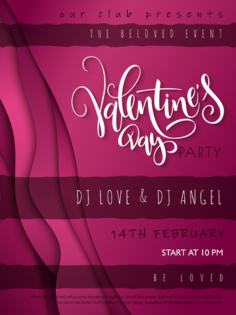 Vector illustration of valentine's day party poster template with hand lettering label - happy valentine's day - with waves and flares.