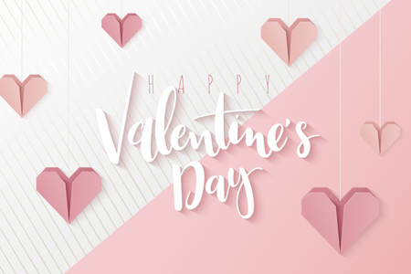 Vector illustration of valentine's day greetings card template with hand lettering label - happy valentine's day - with hanging paper origami heart shapes.