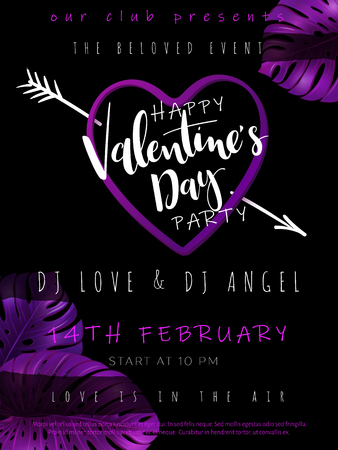 Vector illustration of valentine's day party poster template with hand lettering label - happy valentine's day - with purple monstera leaves and hert shapes.