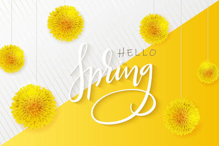 vector illustration of hello spring banner template with hand lettering phrase - hello spring - with dandelions flowers.