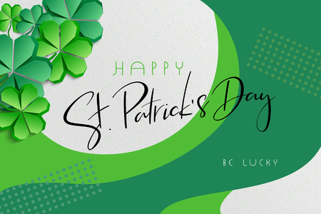 Vector illustration of saint patricks day greetings banner template with hand lettering label - happy st. patricks day- with paper origami clover leaves.