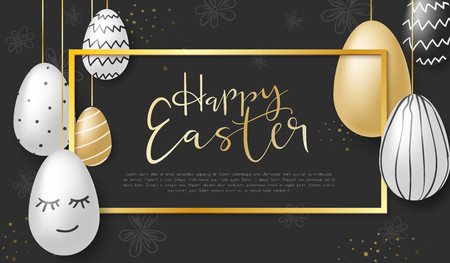 Vector illustration of easter day greetings banner template with hand lettering label - happy easter- with realistic white, black and gold eggs.