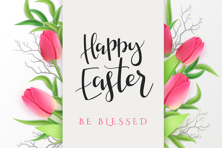 Vector illustration of easter day greetings banner template with hand lettering label - happy easter- with realistic tulip flowers and eucalyptus leaves. Ilustração