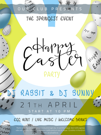 Vector illustration of easter day invitation party poster template with hand lettering label - happy easter- with realistic eggs.