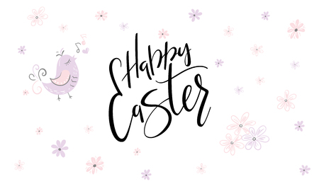 vector hand lettering happy easter phrase with doodle flowers.
