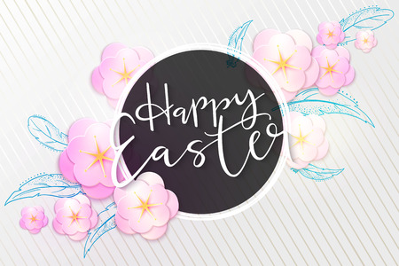 Vector illustration of easter day greetings banner template with hand lettering label - happy easter- with origami paper spring apple flowers and doodle feathers. Ilustração