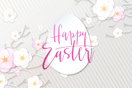 Vector illustration of easter day greetings banner template with hand lettering label - happy easter- with origami paper spring apple flowers. Ilustração
