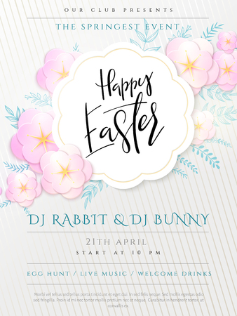 Vector illustration of easter day invitation party poster template with hand lettering label - happy easter- with paper origami spring apple flowers.