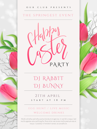 Vector illustration of easter day invitation party poster template with hand lettering label - happy easter- with realistic tulip flowers.
