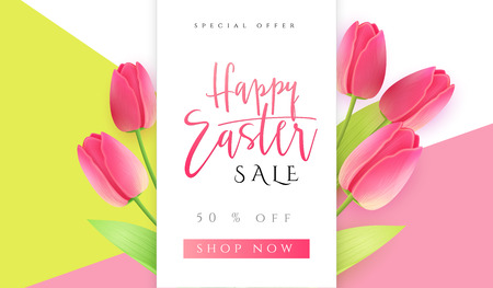 Vector illustration of easter day promotion banner template with hand lettering label - happy easter- with realistic tulip flowers.