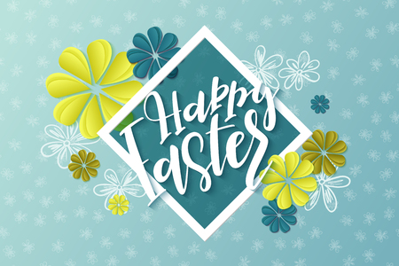 Vector illustration of easter day greetings banner template with hand lettering label - happy easter- with origami paper flowers.