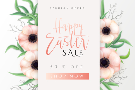 Vector illustration of easter day greetings banner template with hand lettering label - happy easter- with realistic anemone flowers and eucalyptus leaves.