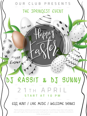 Vector illustration of easter day invitation party poster template with hand lettering label - happy easter- with realistic eggs and eucalyptus leaves.