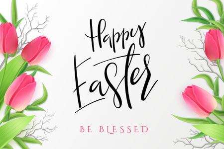 Vector illustration of easter day greetings banner template with hand lettering label - happy easter- with realistic tulip flowers and eucalyptus leaves