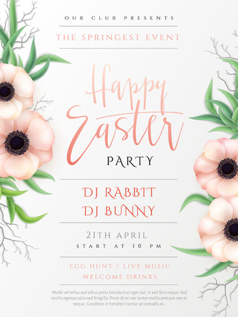 Vector illustration of easter day invitation party poster template with hand lettering label - happy easter- with realistic anemone flowers and eucalyptus leaves