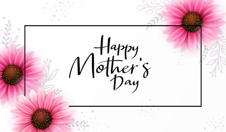 Vector illustration of mothers day greetings banner template with blooming gerbera flowers and hand lettering quote - happy mothers day Illustration