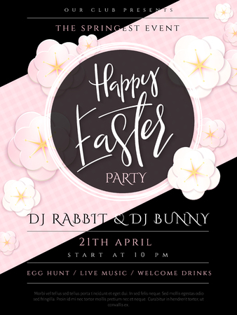 Vector illustration of easter day invitation party poster template with hand lettering label - happy easter- with paper origami spring apple flowers