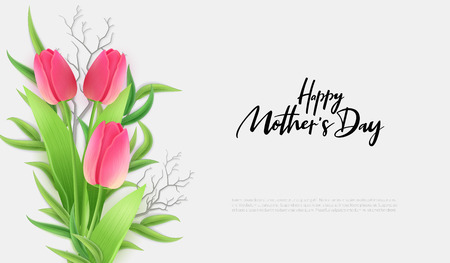 Vector illustration of mothers day greetings banner template with blooming tulip flowers, eucalyptus leaves and hand lettering quote - happy mothers day. Ilustração