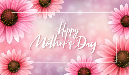 Vector illustration of mothers day greetings banner template with blooming gerbera flowers and hand lettering quote - happy mothers day on blur background.
