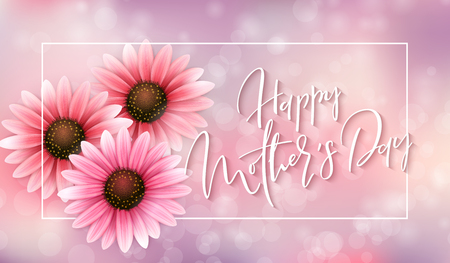 Vector illustration of mother's day greetings banner template with blooming gerbera flowers and hand lettering quote - happy mothers day on blur background. Illustration