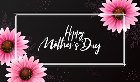 Vector illustration of mothers day greetings banner template with blooming gerbera flowers and hand lettering quote - happy mothers day Ilustração