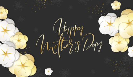 Vector illustration of mothers day greetings banner template with paper spring apple flowers and hand lettering quote - happy mothers day