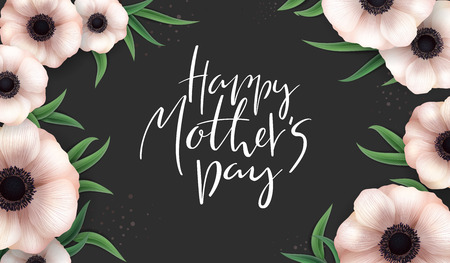 Vector illustration of mothers day greetings banner template with blooming anemone flowers, eucaliptus leaves and hand lettering quote - happy mothers day Ilustração