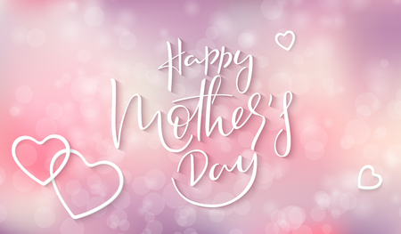 Vector illustration of mothers day greetings banner template with hand lettering quote - happy mothers day on blur background.