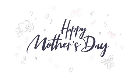 vector hand lettering happy mothers day phrase with doodle flowers and hearts