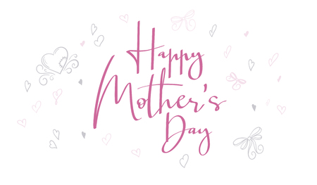 vector hand lettering happy mothers day phrase with doodle flowers and hearts.