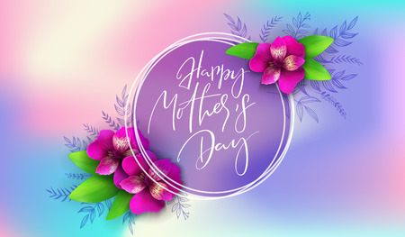 Vector illustration of mothers day greetings banner template with hand lettering label with blooming alstroemeria flowers and hand lettering quote - happy mothers day. Ilustração