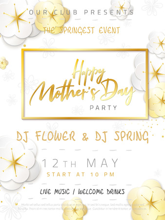 Vector illustration of mothers day invitation party poster template with paper origami spring apple flowers and hand lettering quote - happy mothers day