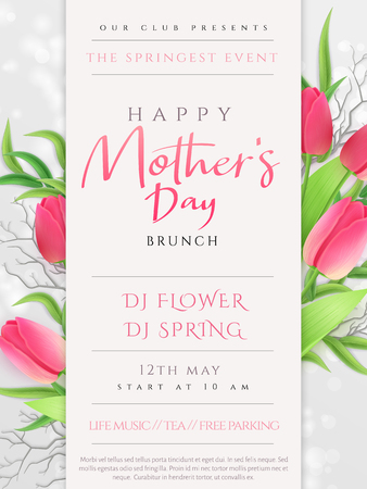Vector illustration of mothers day invitation party poster template with realistic blooming tulip flowers, eucalyptus leaves and hand lettering quote - happy mothers day.