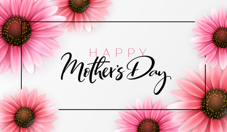 Vector illustration of mothers day greetings banner template with blooming gerbera flowers and hand lettering quote - happy mothers day.