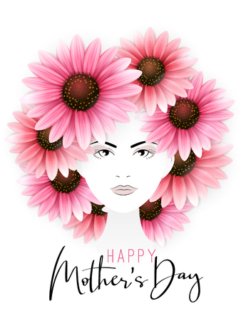 Vector illustration of mothers day greetings banner template with woman portrait with blooming gerbera flowers as hair and custom hand lettering quote - happy mothers day