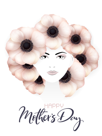 Vector illustration of mothers day greetings banner template with woman portrait with blooming anemone flowers as hair and custom hand lettering quote - happy mothers day.
