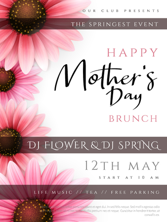 Vector illustration of mothers day invitation party poster template with realistic blooming gerbera flowers and custom hand lettering quote - happy mothers day. Ilustração