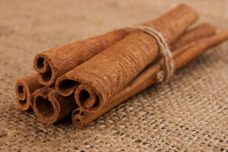 Cinnamon sticks on burlap Stock Photo