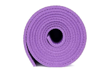 Rolled up yoga mat isolated on white Stock Photo