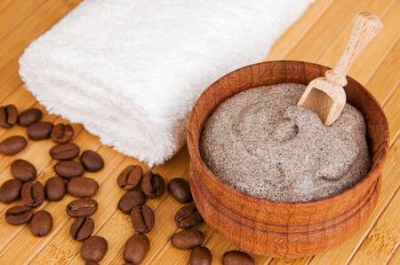 coffee spoon: Homemade skin scrub of ground coffee and sour cream Stock Photo