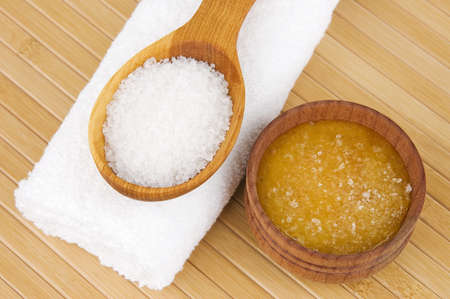 Homemade skin scrub of sea salt and honey