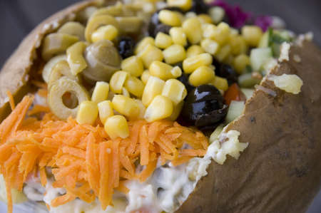 Turkish national dish called kumpir which is baked potato stuffed with vegetables